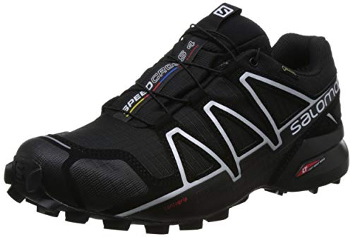 Salomon Men's SPEEDCROSS 4 GTX Trail Running Shoe, Synthetic/Textile, Black (Black/Black/Silver Metallic-X), 10 M
