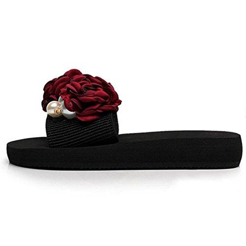 Verano Sandalias uk4 Para Tamaño Eu36 color Antideslizantes Playa Vino cn36 Muma Mujer Y Rojo Gruesa De Suela Chanclas Zapatos Zapatillas Black FPzdqA