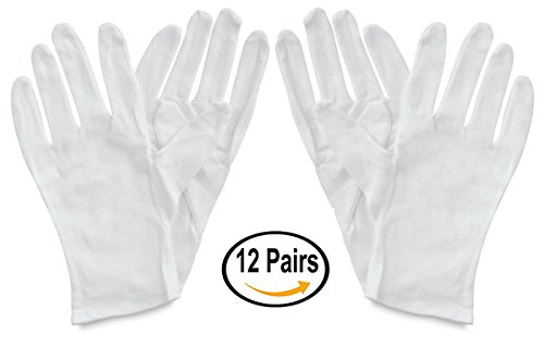 White Cotton Gloves Hypoallergenic Moisturizing Dry Hands Archival 12 Pair