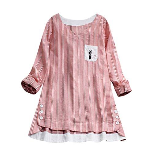 Miuye yuren-Women Tops Short Sleeve and Long Sleeve Lace Trim O-Neck A-Line Tunic Blouse Red