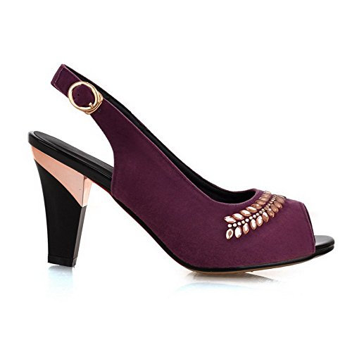 AgooLar Women's Frosted Buckle Peep Toe High-Heels Solid Sandals Purple p69TcUj