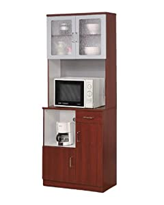 Kitchen Microwave Stand With Glass Door Cherry Finish
