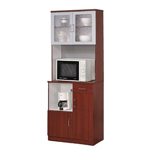 Delightful Kitchen Microwave Stand With Glass Door Cherry Finish