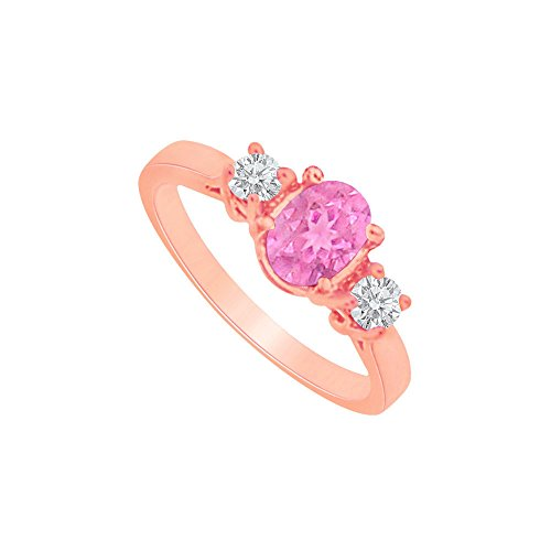 Oval Pink Sapphire and Two CZs Rose Gold Vermeil Ring (Three Pink Czs Ring)