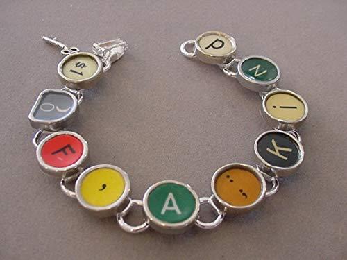 Keys Typewriter Recycled - Typewriter key Bracelet spells 1 of A KIND Red Colors Vintage Typewriter Key Jewelry Recycled jewelry