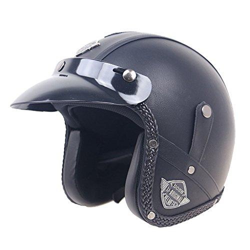 Homyl Vintage Retro Leather Motorcycle Helmets 3/4 Bike M-XL Open Face...