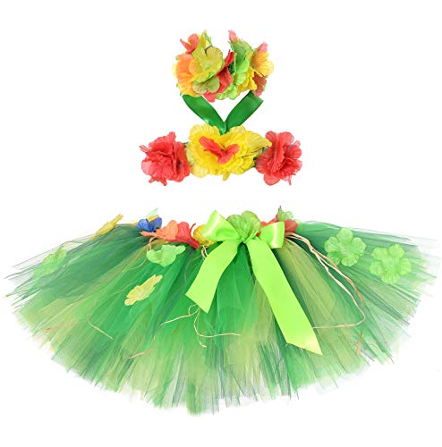 Tutu Dreams Hawaiian Dance Costume Girls Hula Skirt Dancer Beach Pool Party Favors St Patricks Day (Green -
