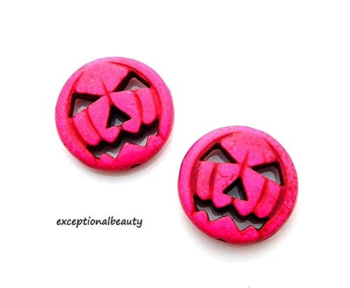 Pendant Jewelry Making 10 Fuchsia Hot Pink Magnesite 19mm Carved Jack O Lantern Pumpkin Halloween Beads