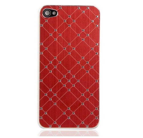 IPhone 4S Back Glass (Red with silver diamonds)