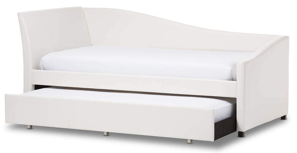 Baxton Studio Vera Kids Twin Daybed with Roll-Out Trundle Guest Bed