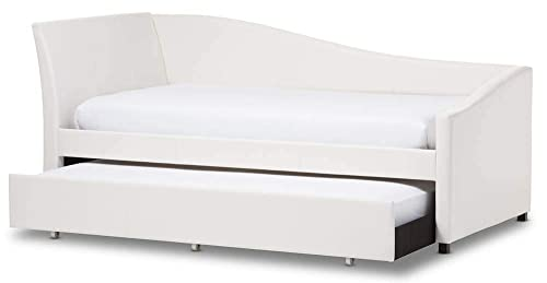 LZ LEISURE ZONE Kids Captain s Bed Twin Daybed with Trundle Bed and Storage Drawers L_White, Twin
