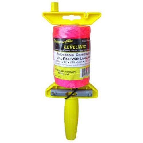 STRINGLINER Company 24462 Braided 500-Feet Reloadable Level Line Reel, Fluorescent Pink
