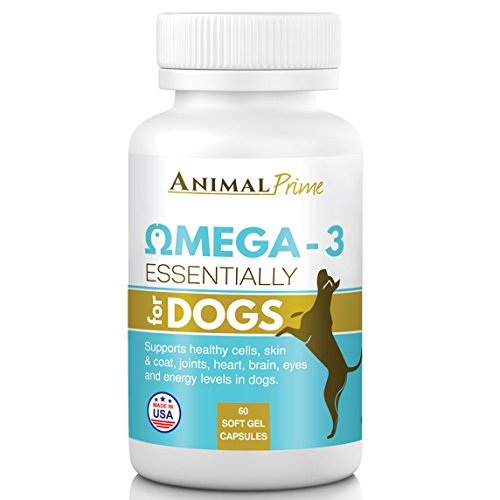 Animal Prime Omega 3 Fish Oil for Dogs 60 1200 mg Softgel Capsules for Pain Relief Joint Support Allergies Skin Inflammation & Healthy Coat. (Natural Made Fish Oil 1200mg compare prices)