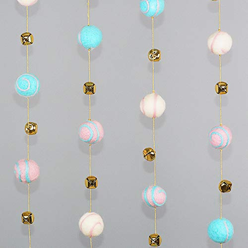 Pink Blue Felt Balls Wool Pom Poms Garland & Gold Bell Party Ornament Hanging Decorations for Kids Girls Room Bedroom Birthday Wedding Baby Shower Parties Wall Decorations