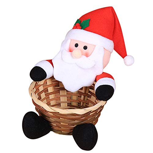 lotus.flower Christmas Candy Storage Basket - Santa Claus Storage Basket Gift Decoration Basket Santa/Snowman/Elk/Gingerbread Man/Penguin Home Decor Storage (Santa Claus)