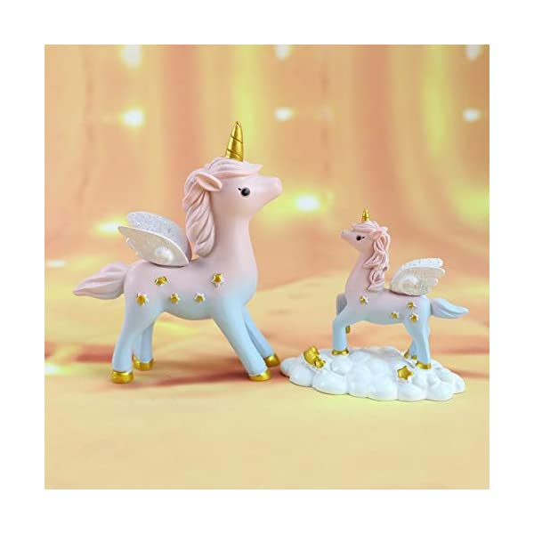 2 Style Unicorn Figurine, Mini Resin Unicorn Cake Topper for Baby Shower Kids Birthday Party Office Desk Decoration… 6