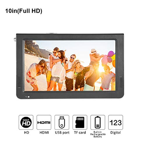 10 inch Portable Digital Television, Small 16:9 ATSC 1080P HD HDMI Video Player TFT LED TV Built-in Rechargeable Battery Support USB and TF Card for Car, Caravan, Camping, Outdoor or Kitchen (Digital Labs Portable Tv)