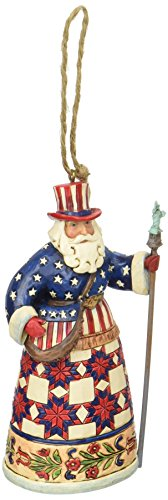 American Flag Christmas Ornament - Jim Shore Heartwood Creek American Santa Stone Resin Hanging Ornament, 4.75
