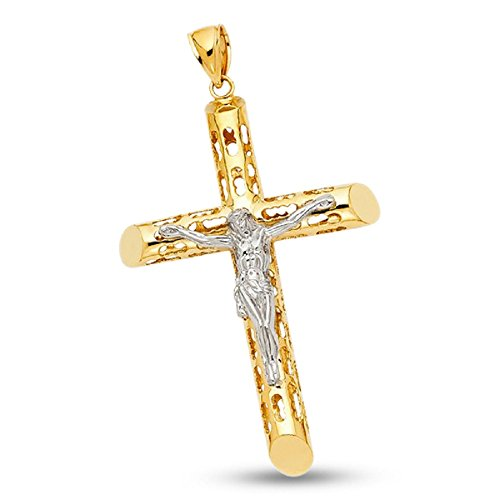 14k Gold Two Tone Solid Mens Crucifix Cylinder Design Jesus Pendant Religious Charm Hip Hop Style Genuine 68 mm x 47 mm by ZenJewels