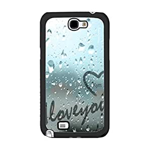 Cute Girlie Love Graphics Hipster Heart Design with Quotes Plastic Cover Case for Samsung Galaxy Note 2 N7100 Hard Cell Phone Skin (summer raindrop)