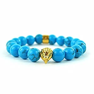 "Turquoise Gemstone Lion Beaded Bracelet Shamballa Style 9.0"" Mens Ladies On Sale"