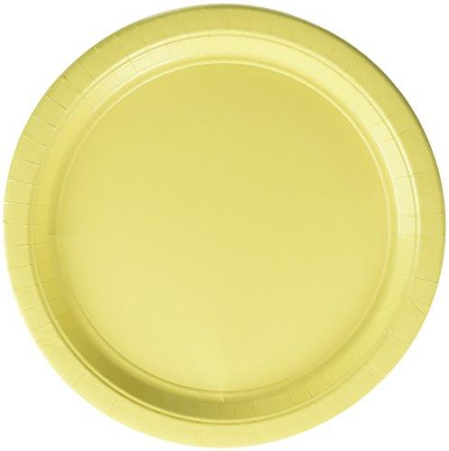 (Light Yellow Round Paper Plates | 10.5