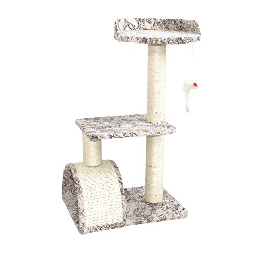 CUPETS Cat Tree Small Cat Scratching Post Fashion Design Cotton Print Cat Climber with Sisal and Mouse Toy for Cats and Kittens