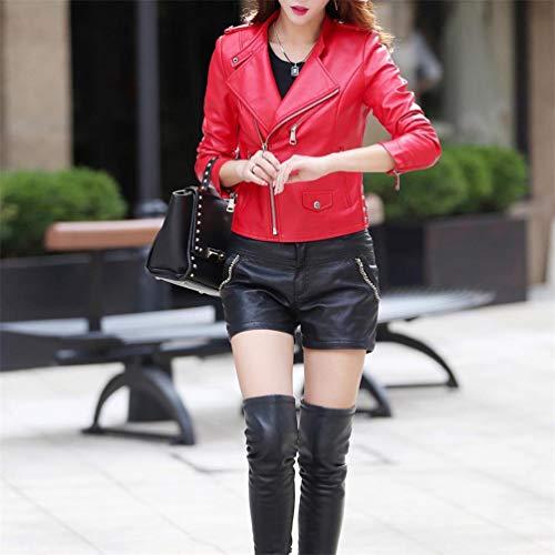 Qixuan Longues Longues Zipper Manches Femmes Manches Cuir Rouge Faux Manteaux Manteaux Casual B8w7xqB