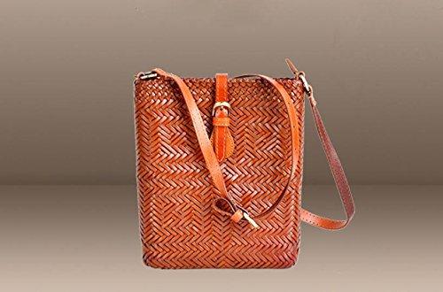 DJB/Retro Magnetverschluss geflochten Leder Umhängetasche handgeflochtenem Tasche Orange