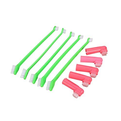UEETEK Set of 8 Cat Dog Toothbrush Dual Headed Dental Hygiene and Dog Finger Brushes for Easy Dog Dental Care Durable Gentle and Safe for All Breeds (Random Color)