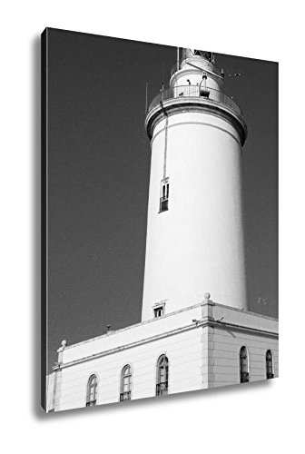 Ashley Canvas Famous Lighthouse Of La Malagueta In Malaga Spain, Wall Art Home Decor, Ready to Hang, Black/White, 20x16, AG6337087 by Ashley Canvas