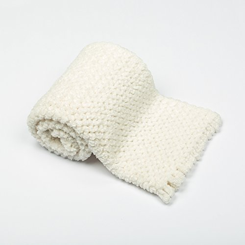 BizzyBabies Chenille Baby Blankets (Cloud White) (Baby White Crocheted Blanket)