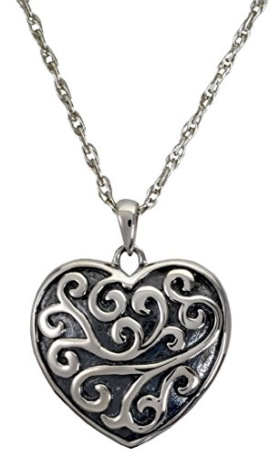 Memorial Gallery MG-3316s Scrollwork Filigree Heart Sterling Silver Cremation Pet Jewelry by Memorial Gallery