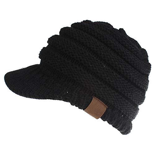 CCOBOB Weaving Ponytail Hat Warm Knit Messy High Bun Messy Visor Beanie Cap (Black)