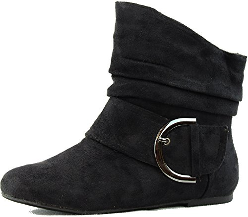 TOP Moda Women's Ankle Booties Buckle Mid Calf Buckle Slouch Flat Heel Strap Fashion Shoes,Pad-51 Black Suede 8.5 ()