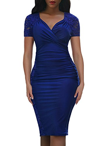 Domy Women's Formal Bodycon Dress Floral Lace Panel Ruched Sheath Dress (M, Royal Blue, Short ()