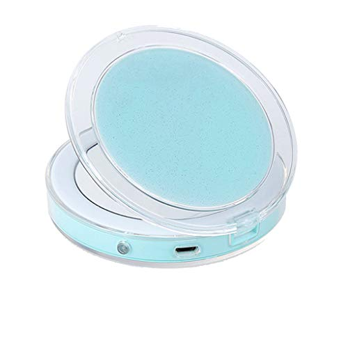(IslandseLED Glow Up Compact Mirror Mini Makeup Mirror Magnify Hand Held Fold Portable (Green))