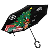 Dora The Explorer Around The Christmas Tree Double Layer Inverted Umbrella For Car Reverse Folding Upside Down C-Shaped Hands - Lightweight & Windproof - Ideal Gift