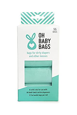 Oh Baby Bags Bulk Refill Box - Recycled Scented Disposable Plastic Bags for Dirty Diapers and Other Messes - Refills Only - 8 Rolls, 96 Bags Total - Seafoam Seaspray Scent