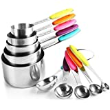 SKY-TOUCH 10 Piece Measuring Cups and Spoons Set in Stainless Steel Cooking & Baking