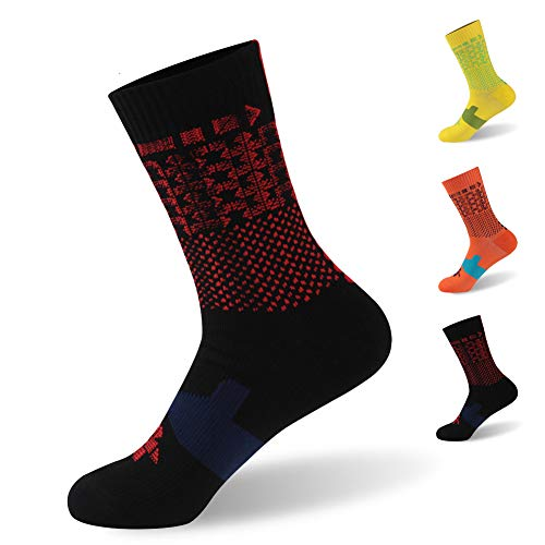 RANDY SUN Waterproof Ultimate Socks, Unisex Sport Socks & Breathable Hiking/Trekking/Skiing Socks, 1 Pair-Black-Mid Calf Socks,Small ()