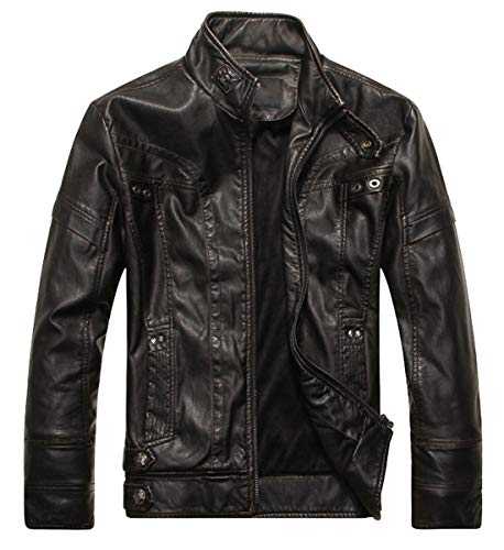WULFUL Men's Vintage Stand Collar Leather Jacket Motorcycle PU Jacket and Coat from WULFUL