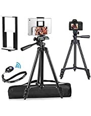 """PEMOTech Compatible for iPad iPhone Tripod, 50"""" Lightweight Aluminum Phone Camera Tablet Tripod + Universal 2 in 1 Mount Holder for Smartphone (Width 2.2-3.3""""),Tablet (Width 4.3-7.3"""")"""