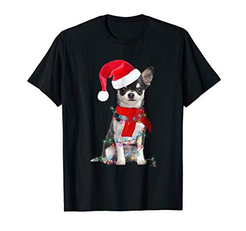 - Chihuahua Wear Santa Hat, Scarf, Christmas Lights tshirt