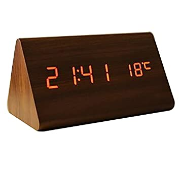 MK Digital Calendar Desktop Alarm Clock Space Saver Triangle LED Wooden Clock for Home Living Room Bedroom Decor-Assorted Color