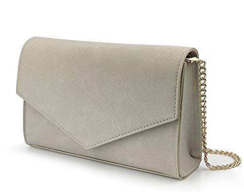 (Minimalist Evening Envelope Clutch Chain Shoulder Bag Women Faux Leather Suede Purse (Sand))