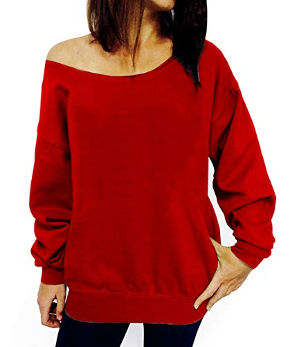 (Dutebare Women Off Shoulder Sweatshirt Slouchy Shirt Long Sleeve Pullover Tops Red a S)