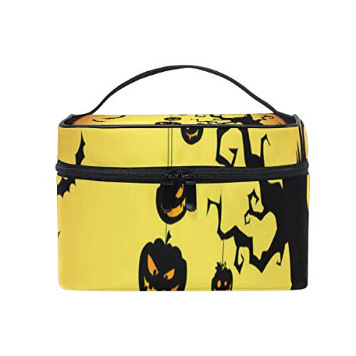 Makeup Bag Halloween Pumpkin Devil Night Cosmetic Bag Portable Large Toiletry Bag for Women/Girls Travel ()