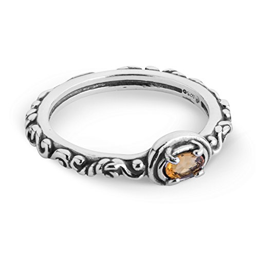 Carolyn Pollack Sterling Silver Citrine Gemstone Single Oval Stone Ring Size ()