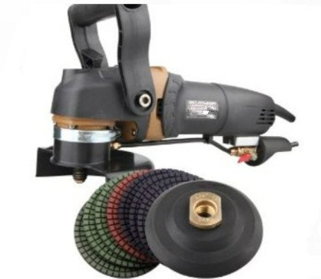 GOWE a combo of 5'' water WET stone polisher+Euro plug +A set of polishing wheels+stick pad | 125mm angle grinder 900W 0